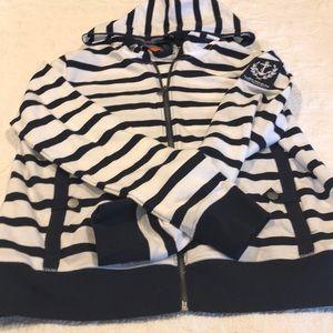 Navy & white , zip up sweatshirt